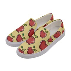 Seamless Pattern Healthy Fruit Women s Canvas Slip Ons by Nexatart