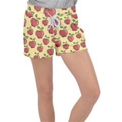 Seamless Pattern Healthy Fruit Women s Velour Lounge Shorts