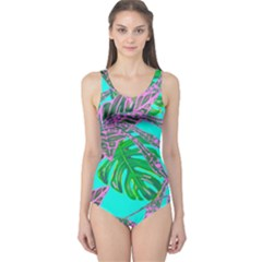 Painting Oil Leaves Nature Reason One Piece Swimsuit by Nexatart