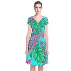 Painting Oil Leaves Nature Reason Short Sleeve Front Wrap Dress