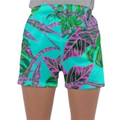 Painting Oil Leaves Nature Reason Sleepwear Shorts