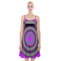 Round Pattern Ethnic Design Spaghetti Strap Velvet Dress