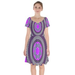 Round Pattern Ethnic Design Short Sleeve Bardot Dress by Nexatart