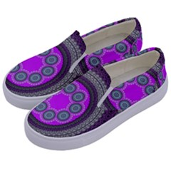 Round Pattern Ethnic Design Kids  Canvas Slip Ons by Nexatart
