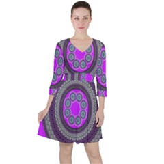 Round Pattern Ethnic Design Ruffle Dress