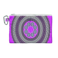 Round Pattern Ethnic Design Canvas Cosmetic Bag (large) by Nexatart