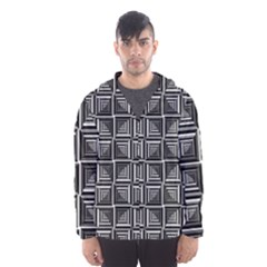 Pattern Op Art Black White Grey Hooded Windbreaker (men) by Nexatart