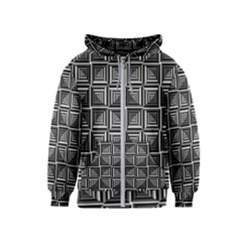 Pattern Op Art Black White Grey Kids  Zipper Hoodie