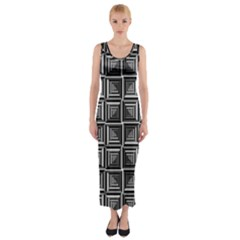 Pattern Op Art Black White Grey Fitted Maxi Dress