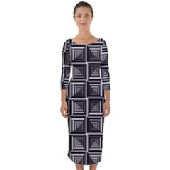 Pattern Op Art Black White Grey Quarter Sleeve Midi Bodycon Dress