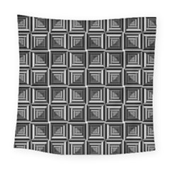 Pattern Op Art Black White Grey Square Tapestry (large)