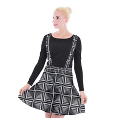 Pattern Op Art Black White Grey Suspender Skater Skirt