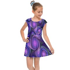 Abstract Pattern Fractal Wallpaper Kids Cap Sleeve Dress