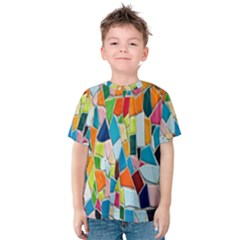 Mosaic Tiles Pattern Texture Kids  Cotton Tee