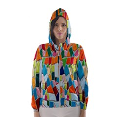 Mosaic Tiles Pattern Texture Hooded Windbreaker (women)