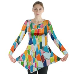Mosaic Tiles Pattern Texture Long Sleeve Tunic