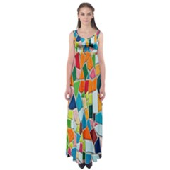 Mosaic Tiles Pattern Texture Empire Waist Maxi Dress