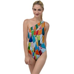 Mosaic Tiles Pattern Texture To One Side Swimsuit