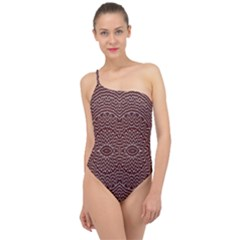 Design Pattern Abstract Classic One Shoulder Swimsuit