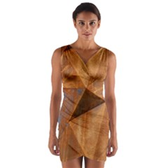 Steel Corten Steel Brown Steel Wrap Front Bodycon Dress