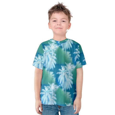 Palm Trees Tropical Beach Coastal Summer Blue Green Kids  Cotton Tee by CrypticFragmentsColors