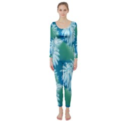 Palm Trees Tropical Beach Coastal Summer Blue Green Long Sleeve Catsuit by CrypticFragmentsColors