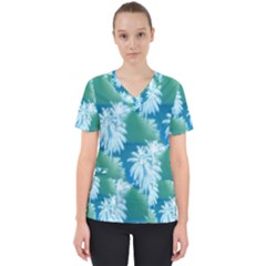Palm Trees Tropical Beach Coastal Summer Blue Green Scrub Top by CrypticFragmentsColors