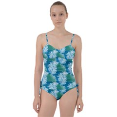 Palm Trees Tropical Beach Coastal Summer Blue Green Sweetheart Tankini Set by CrypticFragmentsColors