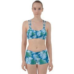 Palm Trees Tropical Beach Coastal Summer Blue Green Women s Sports Set by CrypticFragmentsColors