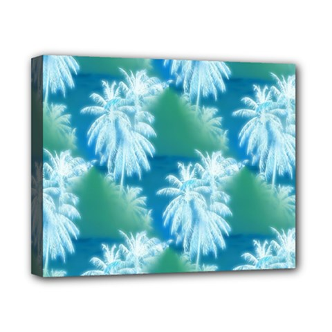 Palm Trees Tropical Beach Coastal Summer Blue Green Canvas 10  X 8  by CrypticFragmentsColors