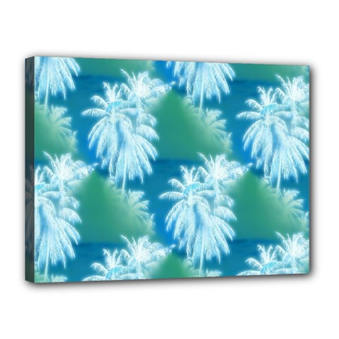 Palm Trees Tropical Beach Coastal Summer Blue Green Canvas 16  X 12  by CrypticFragmentsColors