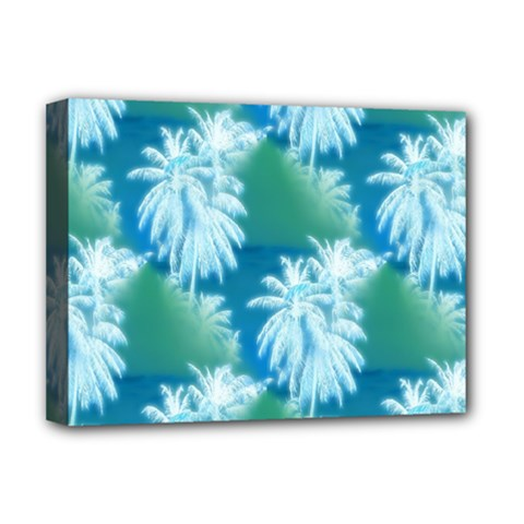 Palm Trees Tropical Beach Coastal Summer Blue Green Deluxe Canvas 16  X 12   by CrypticFragmentsColors