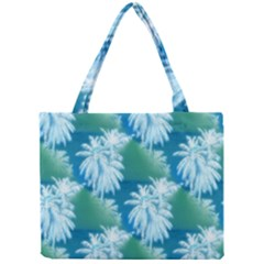 Palm Trees Tropical Beach Coastal Summer Blue Green Mini Tote Bag by CrypticFragmentsColors