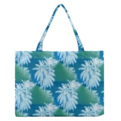 Palm Trees Tropical Beach Coastal Summer Blue Green Zipper Medium Tote Bag by CrypticFragmentsColors