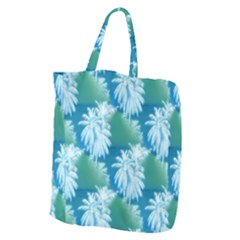 Palm Trees Tropical Beach Coastal Summer Blue Green Giant Grocery Tote by CrypticFragmentsColors
