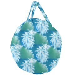 Palm Trees Tropical Beach Coastal Summer Blue Green Giant Round Zipper Tote by CrypticFragmentsColors
