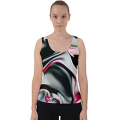 Pink And Black Smokey Design By Kiekie Strickland Velvet Tank Top
