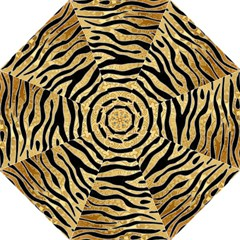 Golden Vector Embossed Golden Black Zebra Stripes Hook Handle Umbrellas (large) by flipstylezdes