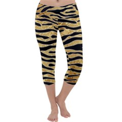 Golden Vector Embossed Golden Black Zebra Stripes Capri Yoga Leggings