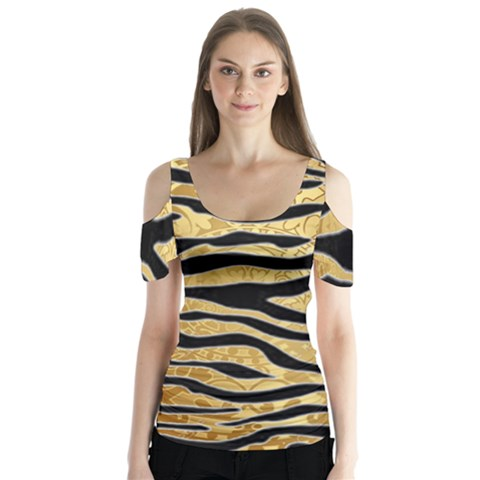 Golden Vector Embossed Golden Black Zebra Stripes Butterfly Sleeve Cutout Tee  by flipstylezdes