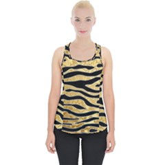 Golden Vector Embossed Golden Black Zebra Stripes Piece Up Tank Top