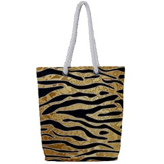 Golden Vector Embossed Golden Black Zebra Stripes Full Print Rope Handle Tote (small) by flipstylezdes