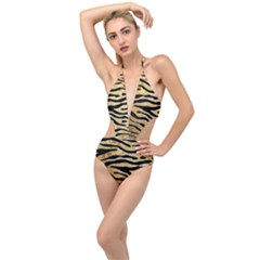 Golden Vector Embossed Golden Black Zebra Stripes Plunging Cut Out Swimsuit by flipstylezdes