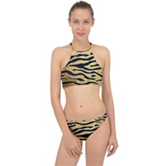Golden Vector Embossed Golden Black Zebra Stripes Racer Front Bikini Set