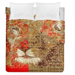 Artistic Lion Red And Gold By Kiekie Strickland  Duvet Cover Double Side (queen Size) by flipstylezdes