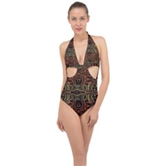 Gorgeous Aztec Design By Kiekie Strickland Halter Front Plunge Swimsuit