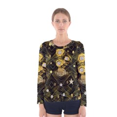 Decorative Icons Original Gold And Diamonds Creative Design By Kiekie Strickland Women s Long Sleeve Tee