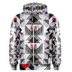 Retro Geometric Red And Black Triangles  Men s Pullover Hoodie