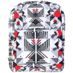 Retro Geometric Red And Black Triangles  Full Print Backpack