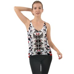 Retro Geometric Red And Black Triangles  Cami